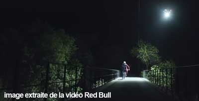 Loic Bruni's Midnight MTB Ride on a Trail lit by a Drone 1