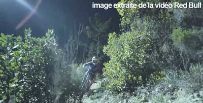 Loic Bruni's Midnight MTB Ride on a Trail lit by a Drone 2